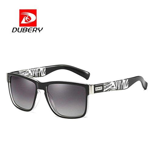 bescita DUBERY Herren Retro Vintage Sonnenbrille im angesagte Browline-Style mit markantem Halbrahmen Sonnenbrille,Brillen Trends 2018 (C)