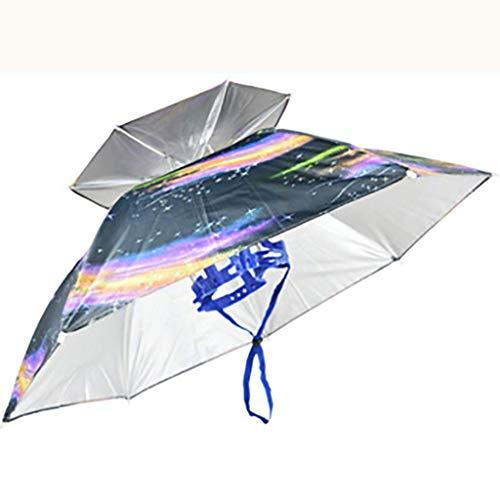 Cxmm Golfschirme Outdoor-Sonnenschirm Sonnenschutzschirm mit Ventilator Doppel großen Faser Regenschirm Angeln Schirmmütze Kopf Regenschirm Taschenschirm Schirmmütze Falten (Farbe: B) (Quallen Kostüm Regenschirm)
