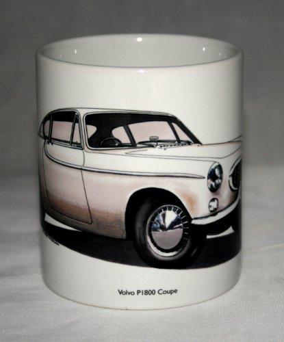 Oldtimer-Becher. Volvo P1800 Coupe hand gezeichnete Abbildung Hand Coupe