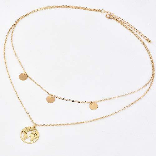 ZUXIANWANG Multi Layered Coin Halskette Silber Gold Farbe Runde Pailletten Halskette Für Frauen Zubehör, Eine