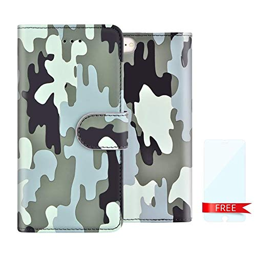 n Army Camo Camouflage Magnetic Kickstand Slim Book Case for iPhone 6,6S, 7, 8(Green) ()