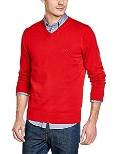 Tommy Hilfiger Herren Pullover Pacific V-Nk Cf, Einfarbig, Gr. X-Large (Herstellergröße: XL), Rot (Apple Red)