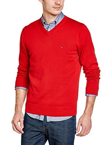 Tommy Hilfiger Herren Pullover Pacific V-Nk Cf, Einfarbig, Gr. XX-Large (Herstellergröße: XXL), Rot (Apple Red)