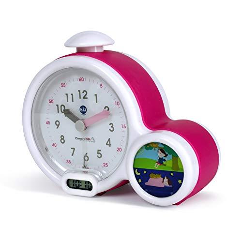 Pabobo Kid Sleep - Wecker - Kinder pädagogische Wecker Tag / Nachtbeleuchtung - Doppelanzeige und 3 Alarme zu wählen - funktioniert auf DC oder Batterien - rosa (Dc-wecker)