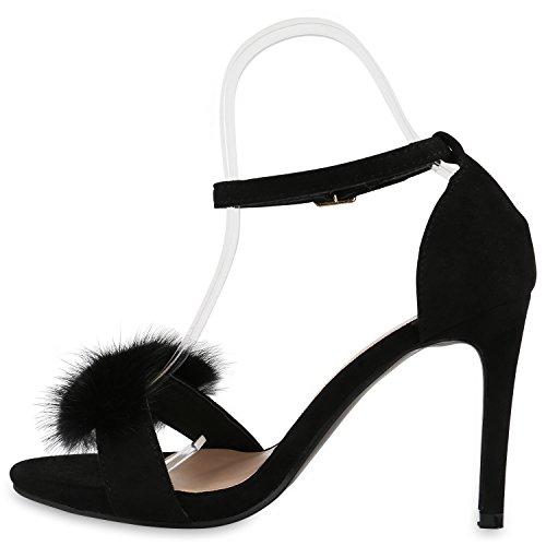 Damen Party Strass Sandaletten High Heels Stilettos Sommer Glitzer Schuhe Abiball Hochzeit Brautschuhe Schwarz Plüsch