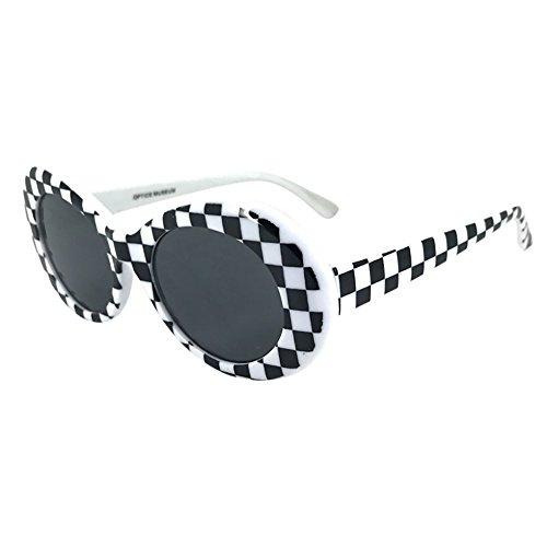 Honestyi Retro Vintage Clout Goggles Unisex Sonnenbrille Rapper Oval Shades Grunge Brille mit rundem Gestell