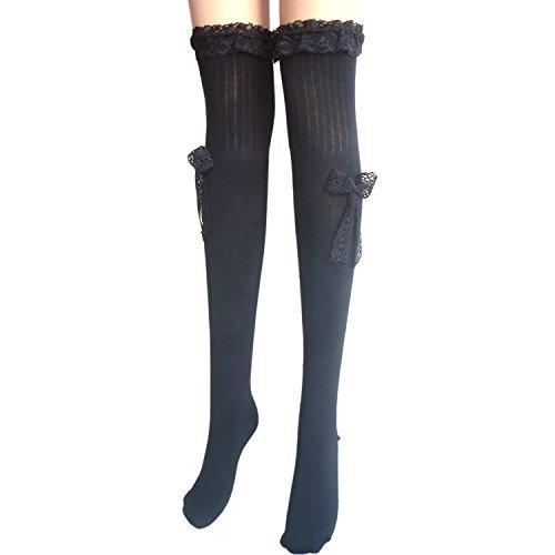 Damen reizvollen Schenkel hohe Baumwollstrümpfe / Overknee Strümpfe halterlose Strümpfe mit Spitze & Satin Schleife L / XL (schwarz) (Spitze Socken Hohe Knie)