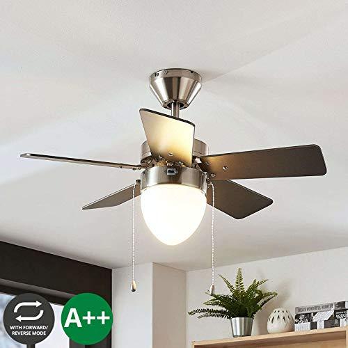 Ventilador de techo con lámpara 'Ante' Moderno en Gris hecho de Madera e.o. para Dormitorio 1 llama...