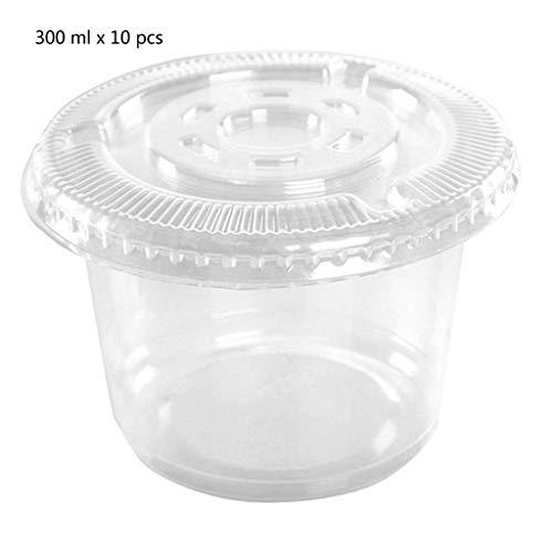 Vorratsbecher Behälter,10 Stücke Einwegbecher Set 300ml Sauce Pot Container Jello Shot Cup Schleim Lagerung Mit Deckel Für Ketchup