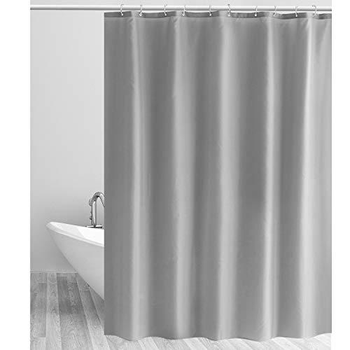 CLOFY Duschvorhänge, Duschvorhang aus Polyester, Anti-Schimmel, Uni Grey - Anti-Bakteriell,Wasserdichtes Design, mit 12 Duschvorhangringen, 180 x 180 cm, Grau