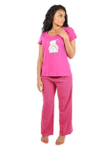 Ex Highstreet Damen Schlafanzug cremefarben cremefarben One size Pink With Polka Dots