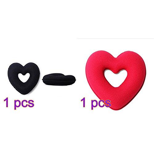 Pixnor Cheveux chignon Accessoires cheveux Donut cheveux chignon Maker cardiaque en forme de beigne (noir + rouge)