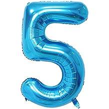 Globo de la hoja 100 cm Balón, volar con helio, azul de color, Número 5, Ideal Para La Decoración del partido (5)