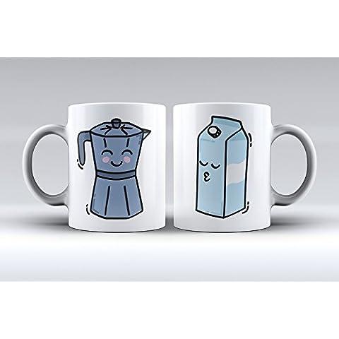 Pack 2 tazas ilustración cafetera y caja de leche decorada desayuno regalo original pareja