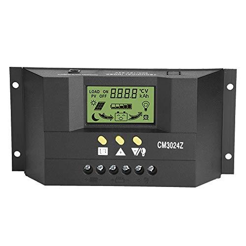 Akozon Solar Laderegler PWM Intelligente Solar Panel Laderegler Regler LCD Display Dual Post Auto System Solar 12V/24V 30A für Solarpanel Batterielampe LED Beleuchtung 30a Panel