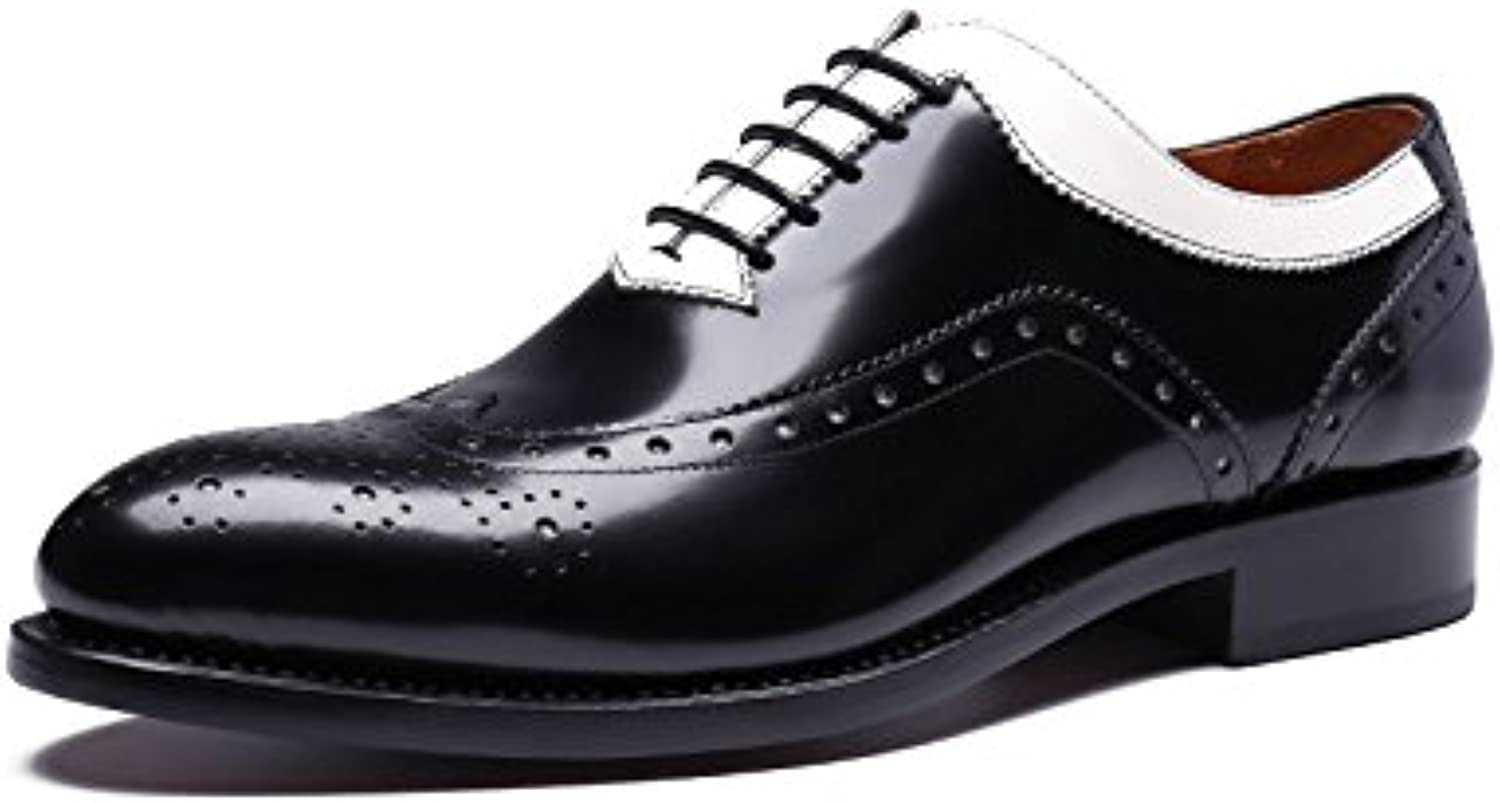 Men's/Women's Men's Goodyear Dress Shoes Shoes Shoes Black and White Stitching Carved Leather Suit Shoes Groom Wedding Shoes Derby Shoes Big clearance sale buy British temperament VN15702 2a059c