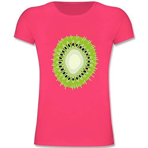 Karneval & Fasching Kinder - Kiwi - Karneval Kostüm - 116 (5-6 Jahre) - Fuchsia - F131K - Mädchen Kinder T-Shirt - Verbotene Süße Früchte