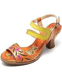 gracosy Sandalias Cuero Verano Mujer Estilo Bohemia Zapatos de Tacón Medio para Mujer de Dedo Sandalias