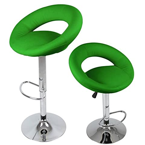 Miadomodo Ergonomic Bar Chairs Set of 2 Height Adjustable Stools Green Home Dining Furniture