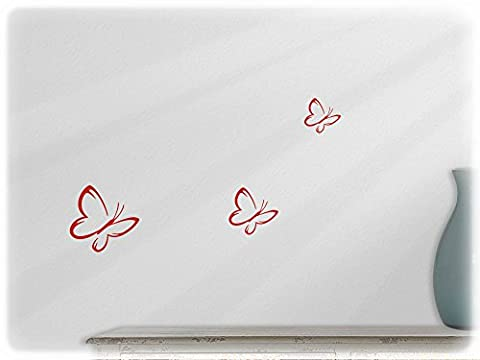 Wall art sticker butterfly - set of 3 (s3) --32-light red