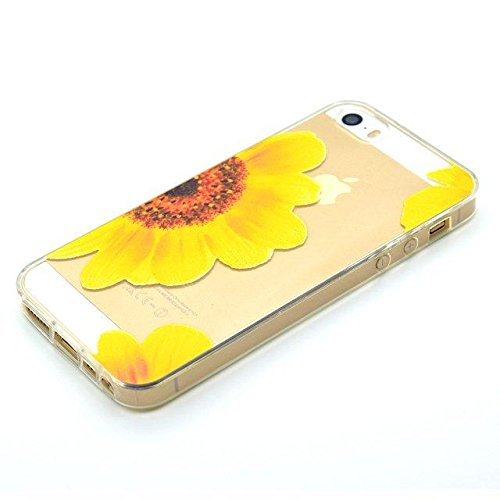 [iPhone 6/6S] Coque Housse de Téléphone,Etsue Mode Fashion Coque Silicone étui à Téléphone pour iPhone 6/6S,iPhone 6/6S Doux Souple Coque en Thin Ultra-Mince TPU ,Transparent Protection des Coque Couv Tournesol Fleur