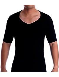SODACODA Men's Compression V Neck Undershirt Shapewear T-Shirt, Slimming Shapewear Short Sleeve
