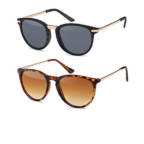 Vintage Sonnenbrille im 60er Style mit trendigen bronzefarbenden Metallbügeln Panto - Retro Brille (Set 4)
