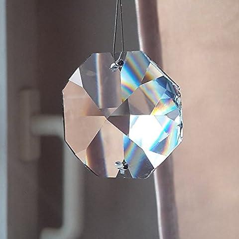 Crystal KOPPEN 32mm 2Hole Set of 4Octagon Octagon-Feng Shui Rainbow Crystal Plating-Window Decoration-LEAD CRYSTAL 30% PBO-Multi-Faceted Crystal Decoration-Chandelier Decoration-Polygon-Octagon by Christoph Palme Leuchten