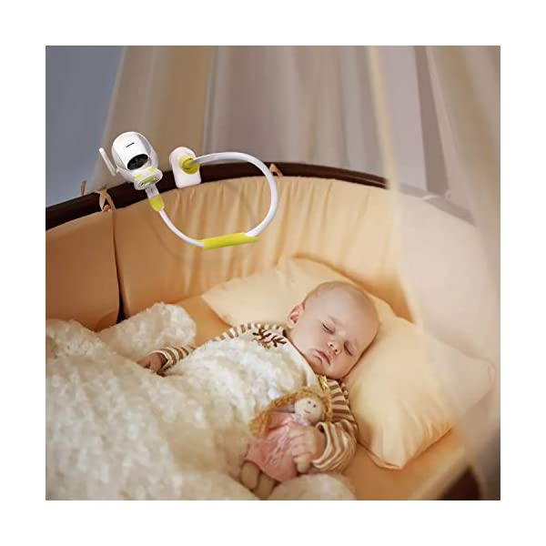 Universa Holder for Baby Monitor with Straps Flexible Baby Camera Mount Shelf No Drilling Safer Monitor Stand Baby(Baby Monitor not Included) MYPIN GET THE BEST VIEW OF YOUR BABY - this flexible baby monitor holder allows you to get the perfect view of your infant. No more balancing of the baby camera on the edge of the cot. This baby camera shelf / holder can be attached to all kinds of furniture or a window sill to give you complete view of your sleeping baby. UNIVERSAL FIT FOR MOST BABY MONITORS ON THE MARKET - this baby camera holder fits most baby video cameras with a base / stand less than 3.8 inches wide and 1.5 inches tall. We've tested the shelf with several leading baby monitor. 360° ROTATING BRACKET HEAD:360 degree rotating, can turn in the direction of the child's activity, easy to position the monitor at the ideal distance and angle for convenient viewing, and no need to re-install the camera and reinstall. 4