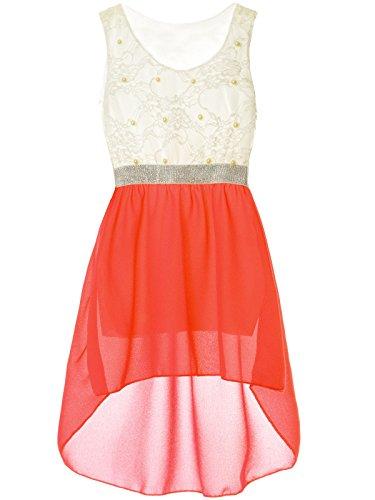 BEZLIT Mädchen Kinder Sommer-Kleid Spitze Glitzer Kurzarm Kunst-Perlen 22286 Rot Größe 176 (Armee-kleid Für Kinder)
