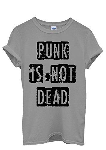 Punk is Not Dead Fun Music Cool Funny Men Women Damen Herren Unisex Top T  Shirt Grau