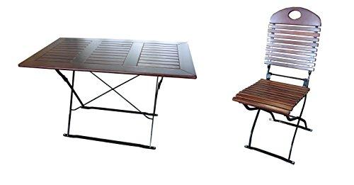 Biergartengarnitur 1x Tisch 120x70 cm & 6x Stuhl Edition-Exklusiv kastanie/schwarz