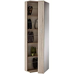 Armario zapatero alto con espejo color roble, barras en el interior y cierre magentico 182x50x30