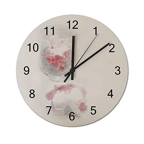 FWLCM Hölzern Wanduhr - Uhr Im Angesagtem Chic Design Mit Leisem Quarz Uhrwerk Simplicity Wooden Clock Baby Outdoor Wohnzimmer Schlafzimmer Dekor Batteriebetrieben 30 * 30 * 0.5Cm (Outdoor-baby-dekor)