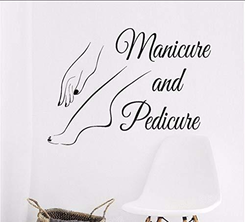 üre Und Pediküre Zeichen Logo Wand Fenster Aufkleber Aufkleber Nagelstudio Kunst Decals Nagellack Schönheitssalon Wanddekoration ()