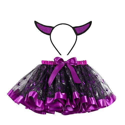 Trunlay Neugeborenes Baby Mädchen Kleidung Tutu Halloween Party Tanzen Ballett Kostüm Rock + Haarband Outfits Set Baby Kleidung Set Bekleidungsset für 2-11 Jahre (Ballett Halloween Kostüm)