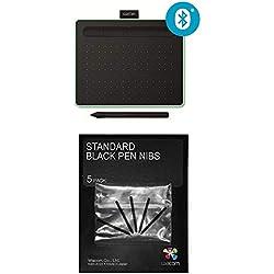 Wacom Tablette à Stylet Intuos S Bluetooth, Pistache, avec 2 logiciels gratuits à télécharger + Housse pour Intuos S - Gris ACK-20001 Stylo Standard, Noir 5 pcs