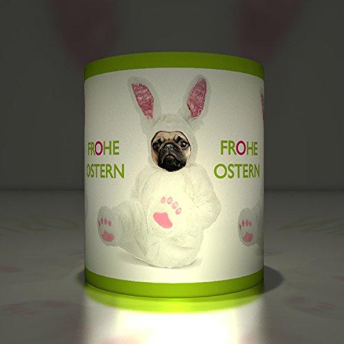 omische Oster Papier Windlichter| Teelichthalter| Transparent Leuchten mit Mops und Schwein im Osterhasenkostüm, grün (Halloween Kostüme Einfach Für Die Jungs)