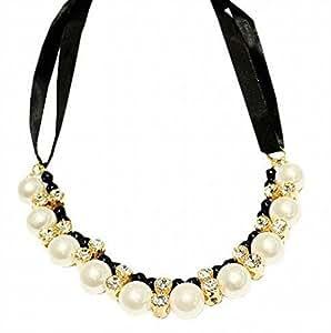 CherriKiss Collier Ruban avec cordon réglable en perles de cristaux noirs, bijoux sans plomb ni nickel