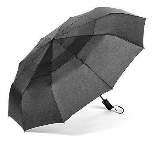 ombrello pieghevole antivento Compatto Antivento Ombrello per esterno da viaggio Automatico Apri e Chiudi 10 in vetroresina pali e 100 cm di diametro (Nero)