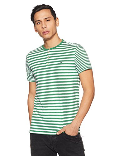 United Colors of Benetton Men's Solid Regular Fit T-Shirt (18P3089E9999I_Green_M)
