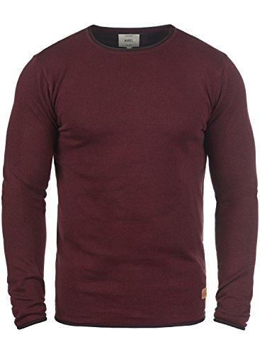 Redefined Rebel Maison Herren Strickpullover Feinstrick Pullover Mit Rundhals Und Melierung Aus 100% Baumwolle, Größe:L, Farbe:Bordeaux