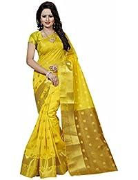 Wedding Villa Women's Poly Cotton Saree With Blouse Piece (DevyaniYellow_Yellow_Colour)