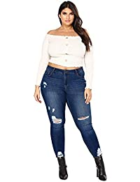 Mobast Grande Taille Jean Femme Straight Fit Jeans Taille Haute Grandes  Tailles Pantalons Femme Casual Vintage 4c8eaff9964