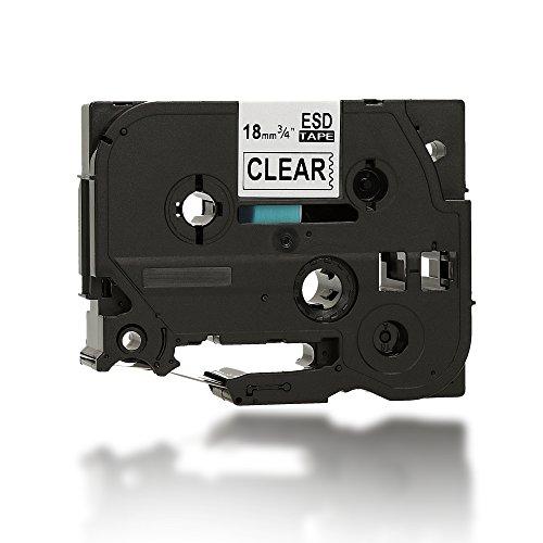 8x hochwertiges Etikettenband | Schriftband | Schriftbandkassette | Tape für TZ 141 | TZ141 | TZ-141 Brother P-Touch Drucker Label Printers | u.a. PT 3600 9600 2430 PC 2730 VP 9700 PC 9800 PCN D400 VP D450 VP D600 VP E300 VP E500 VP E550 WVP H300 LI H500 LI P700 P750 TDI P750 W Professionell PT-2430PC USB PTD450VP PTE500VPG Modell | 18mm x 8m - Schwarz auf TRANSPARENT - 100% kompatibel zu TZe-141 PT Beschriftungsgerät. iTecXpress24 (Kleidung 8x)