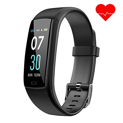 Dwfit Fitness Armband mit Pulsmesser,Wasserdicht Blutdruckmesser Fitness Tracker Aktivitätstracker Pulsuhren Schrittzähler,Uhr Smartwatch mit Schlafmonitor für iOS Android Handy(Schwarz)
