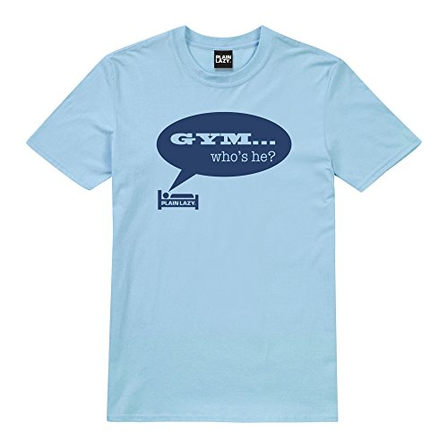 Plain Lazy Herren T-Shirt Gym Who's He Blue (Light Blue)
