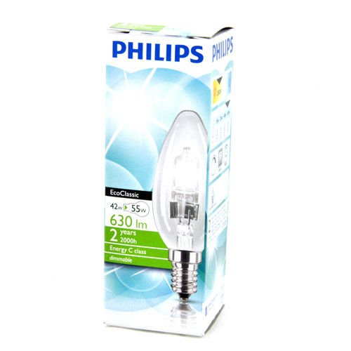 Philips EcoClassic 42 W = 55 W E14 SES 2800K Energy Saving Dimmable Halogen Candle Bulbs 3 Pack
