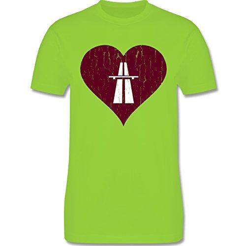 Automotive - Autobahn Herz - Love - Rennsport - Vintage - L190 - Premium Männer Herren T-Shirt mit Rundhalsausschnitt Hellgrün