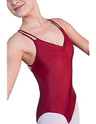 ZKOO Niñas Maillot de Ballet de Gimnasia Correa Cruzada Leotardos de Ballet Dancewear para Mujer